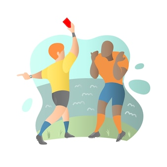 Football player get a red card from referee in flat illustration