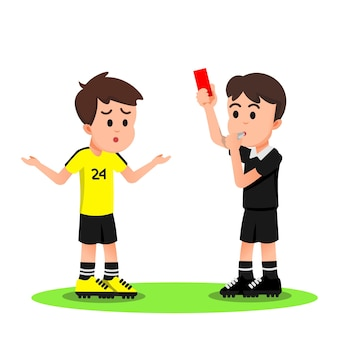 Football player gets a red card from the referee