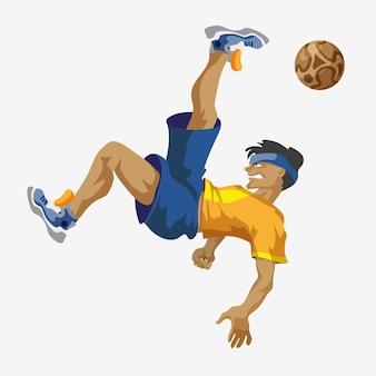 Футболист в синей спортивной рубашке иллюстрации