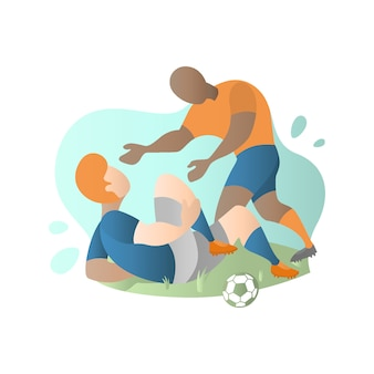 Football player injury and complaining in flat illustration