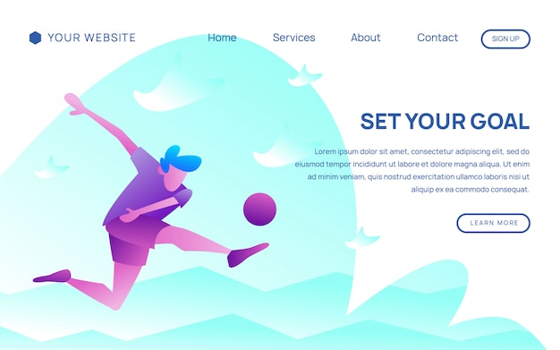 Football player landing page template