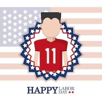 アメリカの旗の上のサッカー選手