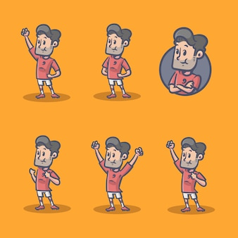 Football player retro character Premium Vector