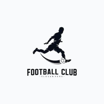 Football player silhouette logo design vector