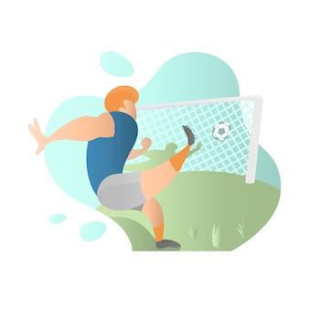 Football player take free kick in flat illustration