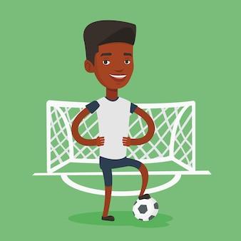 Футболист с мячом векторные иллюстрации.