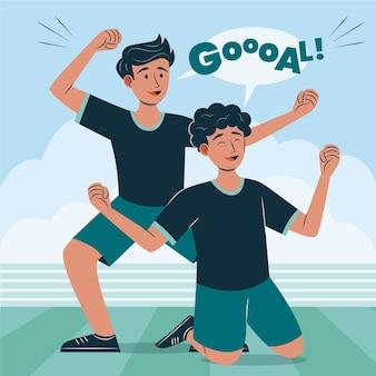Illustrazione di giocatori di calcio