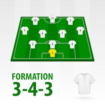 Football players lineups, formation 3-4-3. soccer half stadium.