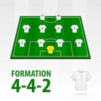 Football players lineups, formation 4-4-2. soccer half stadium.