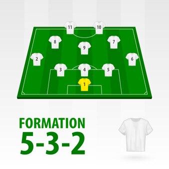 Football players lineups, formation 5-3-2. soccer half stadium.