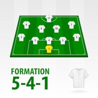 Football players lineups, formation 5-4-1 . soccer half stadium.