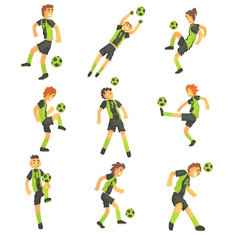 Football players of one team with ball  illustration set