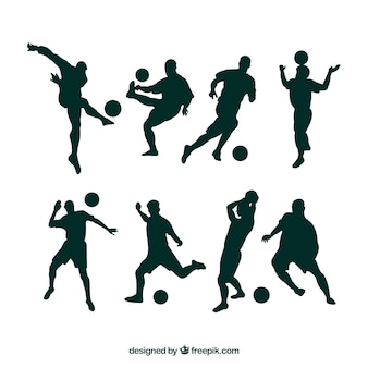 Football players silhouettes in different positions