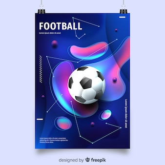Football poster template with fluid shapes