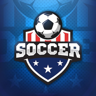 Football professional logo in flat style, soccer ball and shield with stars. sport games.