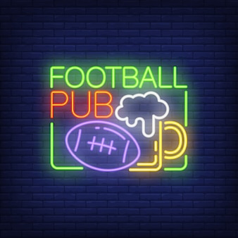 Football pub neon sign. Rugby ball and glass of beer shape on brick wall background.