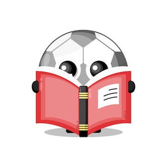 Футбол, читающий книгу, милый талисман персонажа