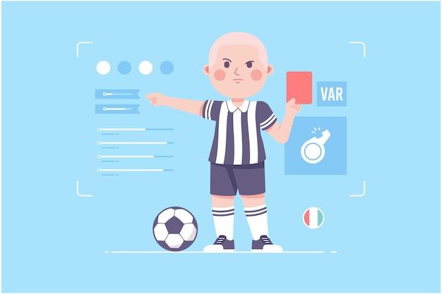 サッカーの審判のかわいいキャラクターデザイン