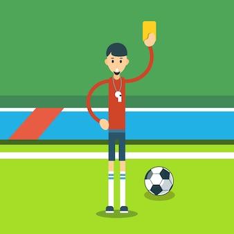 Football referee show yellow card