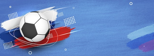 Football on russian flag colors abstract background