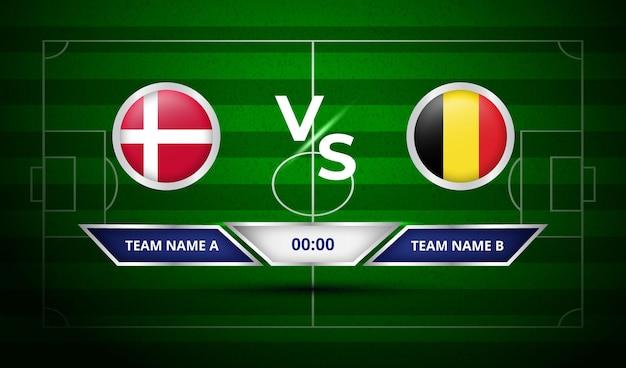 サッカー スコアボード デンマーク対ベルギー
