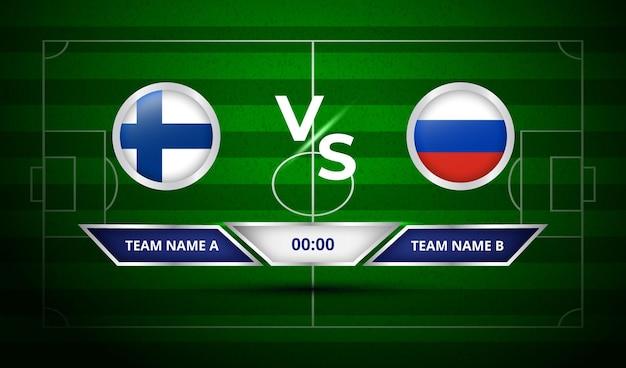 Football scoreboard finland vs russia Premium Vector