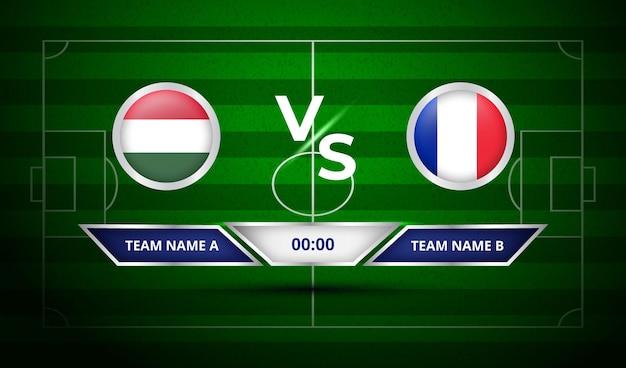 サッカー スコアボード ハンガリー対フランス