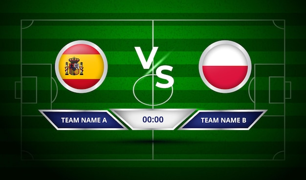 축구 스코어 보드 스페인 vs 폴란드