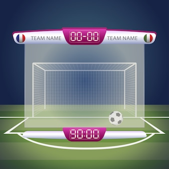Football scoreboard with time and result display