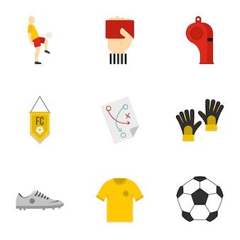 Football set, flat style