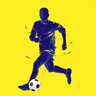 Football soccer ball posing blue silhouette