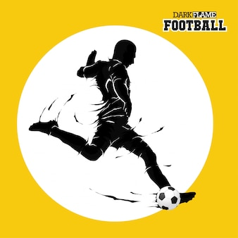 Football soccer ball posing dark flame silhouette