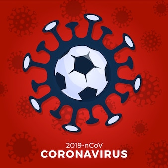 Football or soccer ball   sign caution coronavirus. stop covid-19 outbreak. coronavirus danger and public health risk disease flu outbreak. cancellation of sporting events and matches concept