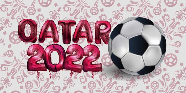 Football or soccer championship  in qatar foil balloons  vector illustration football pattern red ba...