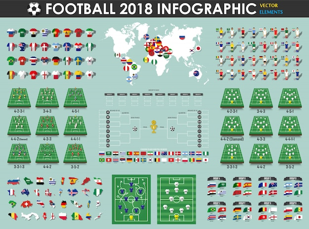 Football or soccer cup infographic elements