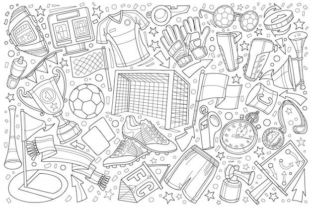 サッカー、サッカー落書きセットイラスト背景
