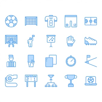 Football or soccer equipments icon  set