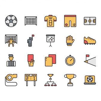Football or soccer equipments icon and symbol set