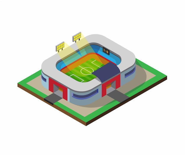 Football soccer field sport stadium building isometric flat illustration   isolated