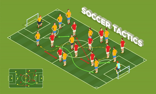 Football soccer isometric people composition with conceptual image of playground and football players with colourful arrows illustration
