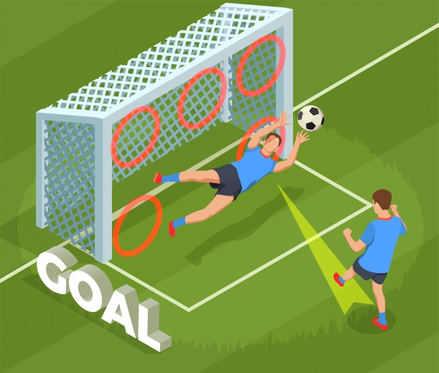 Football soccer isometric people composition with human character of player dropping goal into cage