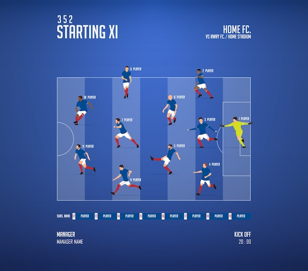 Football or soccer match lineups formation infographic.