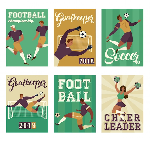 Football soccer player set posters of characters