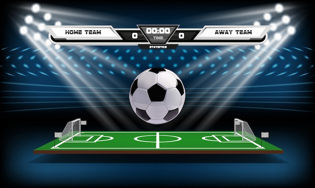Football or soccer playing field with infographic elements and 3d ball.