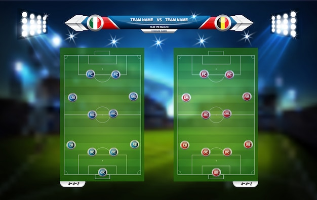 Football or soccer playing field with set of infographic elements. sport game. sport cup.   illustration.