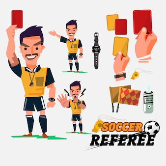 Football or soccer referee with card illustration