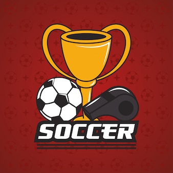 Football soccer sport with trophy cup award