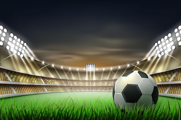 Football soccer stadium  background with ball at realistic green grass illuminated by  spotlight