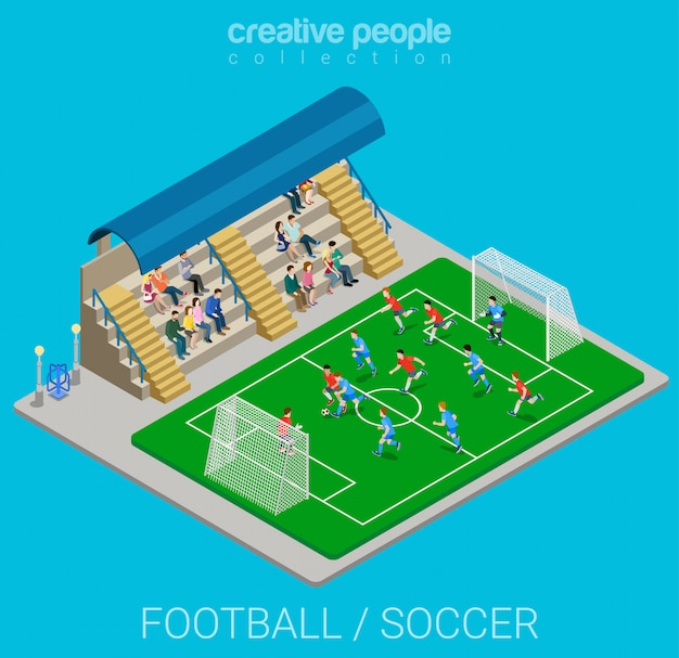 Football soccer stadium competition match play isometric  illustration