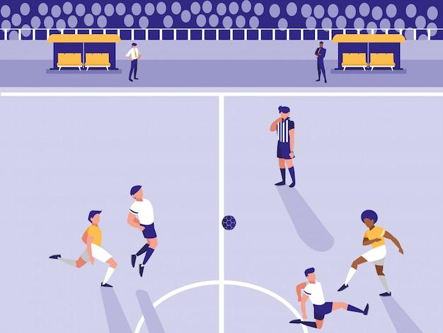 サッカーサッカースタジアムのシーン